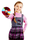 Girl with a disk in her hand Royalty Free Stock Photography
