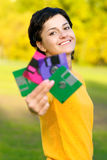 Girl with diskettes Royalty Free Stock Photography