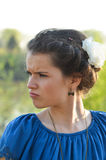 Girl displeased. Portrait of a teenage displeased Stock Images