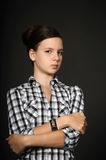 Girl dissatisfied. She crossed her arms dissatisfied royalty free stock photos