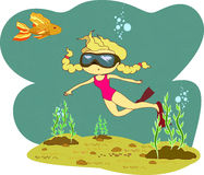 Girl diver gold fish illustration. Vector illustration of girl in a  leotard in a mask floats under water dives sees surprised goldfish eps8 Royalty Free Stock Photo