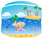 Girl dives into the sea Royalty Free Stock Image