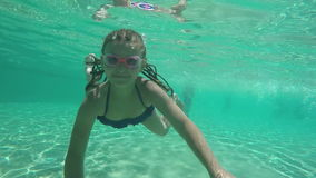 Girl dives under the water. In the pool stock footage