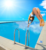 Girl diving Stock Photo