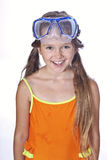 Girl with diving equipment Royalty Free Stock Photography