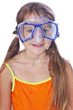 Girl with diving equipment Stock Photo