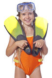 Girl with diving equipment Royalty Free Stock Photos