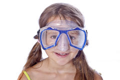 Girl with diving equipment Stock Photography