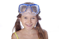 Girl with diving equipment Royalty Free Stock Images