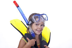 Girl with diving equipment Royalty Free Stock Image