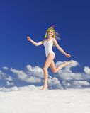 Girl with diving mask on the beach Stock Images