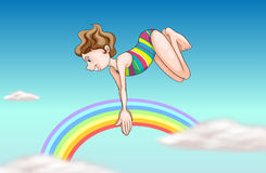 A girl diving up the sky Royalty Free Stock Images