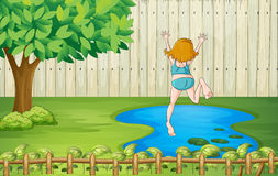 A girl diving into the water Royalty Free Stock Photos