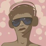 Girl dj. DJ girl in headphones. Vector illustration Stock Images