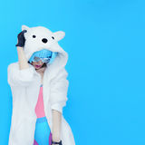 Girl DJ. Crazy winter party. Club dance style. Teddy Bear Girl DJ. Crazy winter party. Club dance style Stock Photos