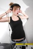 Girl DJ expressing surprise Stock Images