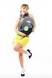 Girl DJ with headphones Royalty Free Stock Images
