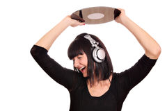 Girl dj holding a lp Royalty Free Stock Images