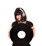 Girl dj with lp Stock Photo