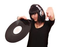 Girl dj with lp Stock Image