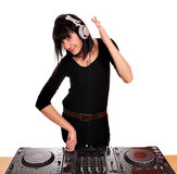 Girl dj play music Royalty Free Stock Photos