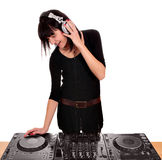 Dj play music on turntables. Girl dj play music on turntables Royalty Free Stock Image