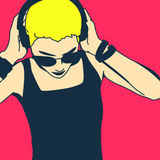 Girl DJ. Pop Art style Stock Photos