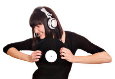 Girl dj scratch lp Royalty Free Stock Photos