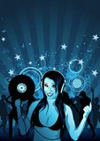 Girl DJ Wallpaper Stock Image