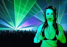 Girl DJ Wallpaper Stock Photo