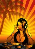 Girl DJ Wallpaper Stock Photography
