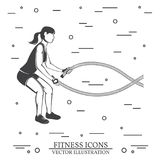 Girl do exercises with battle ropes. Vector illustration. Stock Photos