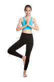 Όμορφο ασιατικό υγιές girl do yoga θέτει Στοκ Φωτογραφίες