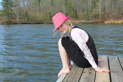 Girl on the Dock Royalty Free Stock Photos