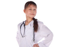 Girl, a doctor, the child. Children dressed as doctors, nurses Stock Photos