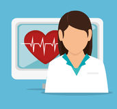 Girl doctor computer pulse heart Royalty Free Stock Photography