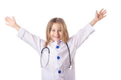 Girl in doctor costume Royalty Free Stock Photo
