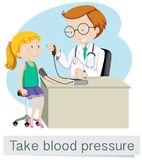 A Girl with Doctor Take Blood Pressure. Illustration Royalty Free Stock Photos