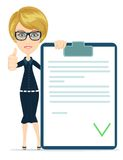 Girl with a document approved, vector illustration Stock Photos
