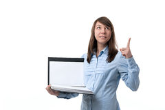 Girl with documents pointing her finger up Stock Photos