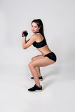 The girl does exercise fitness Stock Photography
