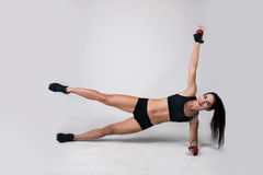 The girl does exercise fitness Royalty Free Stock Image