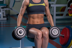 The girl does exercises with dumbbells Royalty Free Stock Images