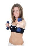 The girl does exercises with dumbbells isolated Royalty Free Stock Image
