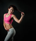 A girl does a fitness Stock Photos