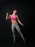 A girl does a fitness Royalty Free Stock Image