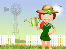 Girl does gardening Royalty Free Stock Photography