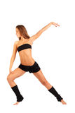 Girl does physical exercises isolated Royalty Free Stock Photo