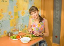 The girl does salad Royalty Free Stock Images