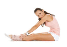 Girl does sport exercises and poses Stock Photos